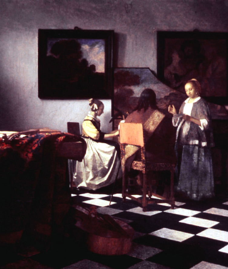 "Jan Vermeer's ""The Concert,"" oil on canvas, painted circa 1658-1660, was one of the 13 paintings sto.."