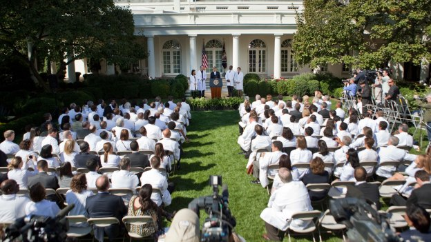 Doctors from all 50 states come to support reform. Watch a powerful new video with interviews of the doctors, or watch the President's remarks. White House Photo, Lawrence Jackson, 10/5/09